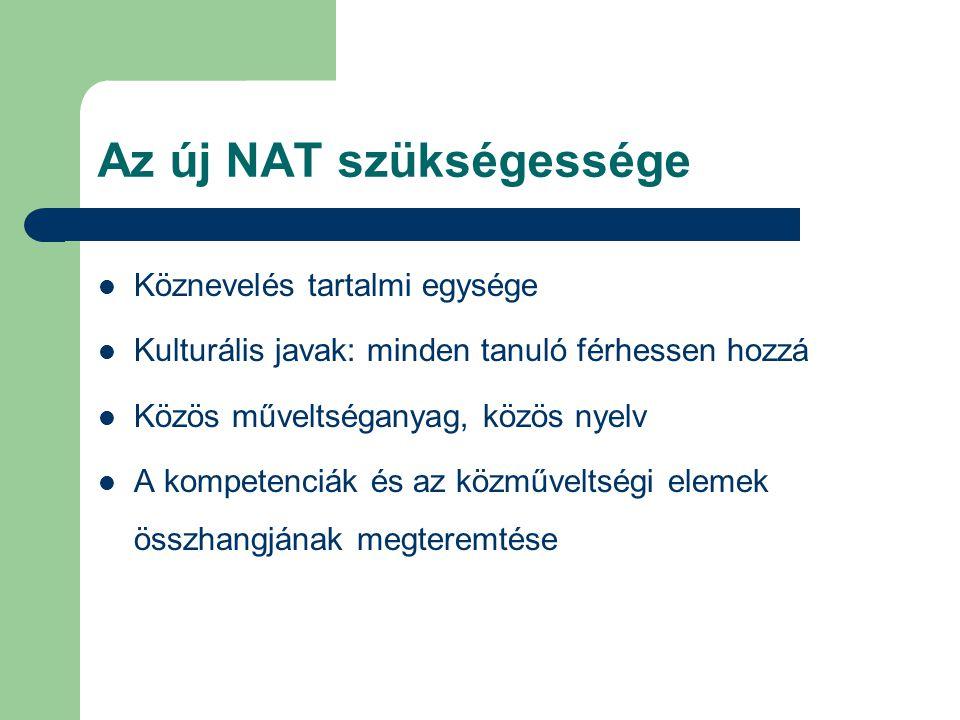 Az új NAT szükségessége Köznevelés tartalmi egysége Kulturális javak: minden tanuló férhessen hozzá Közös műveltséganyag, közös nyelv A kompetenciák és az közműveltségi elemek összhangjának megteremtése