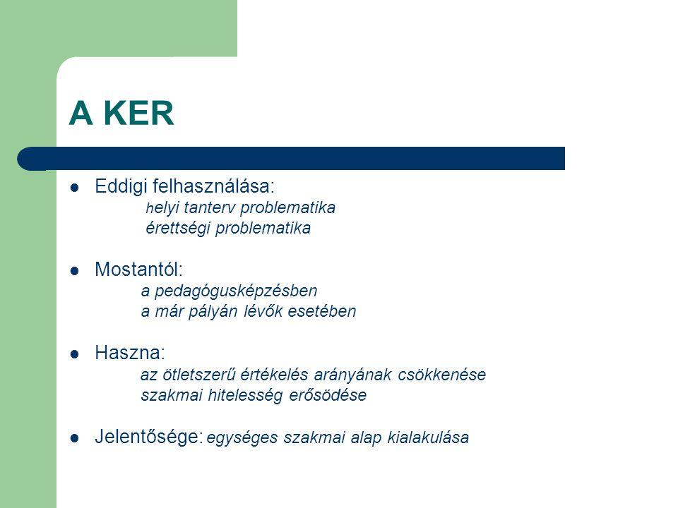 A KER Eddigi felhasználása: h elyi tanterv problematika érettségi problematika Mostantól: a pedagógusképzésben a már pályán lévők esetében Haszna: az ötletszerű értékelés arányának csökkenése szakmai hitelesség erősödése Jelentősége: egységes szakmai alap kialakulása