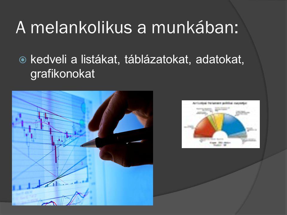 A melankolikus a munkában:  kedveli a listákat, táblázatokat, adatokat, grafikonokat