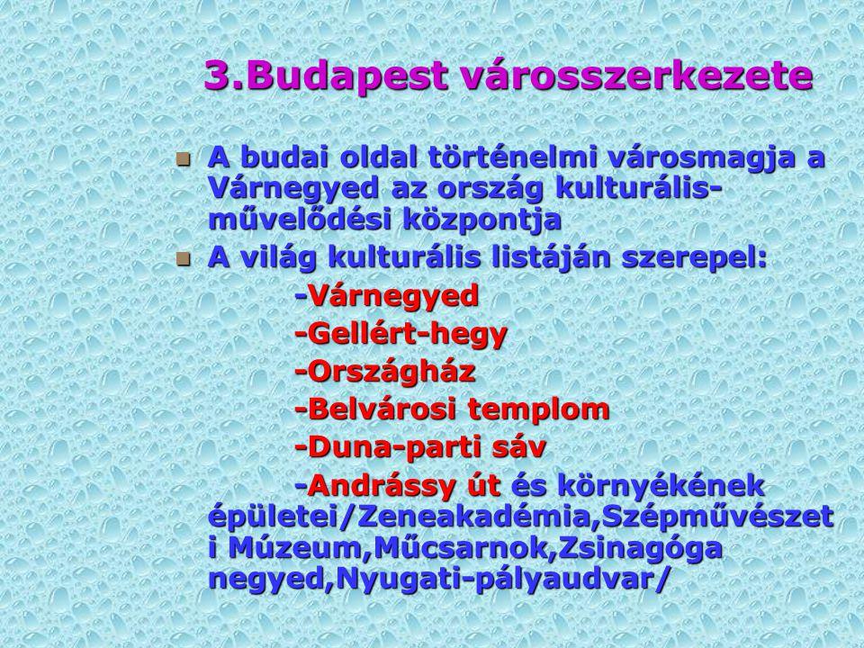 3.Budapest városszerkezete A budai oldal történelmi városmagja a Várnegyed az ország kulturális- művelődési központja A budai oldal történelmi városma