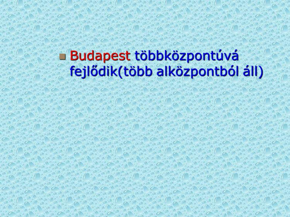 Budapest többközpontúvá fejlődik(több alközpontból áll) Budapest többközpontúvá fejlődik(több alközpontból áll)