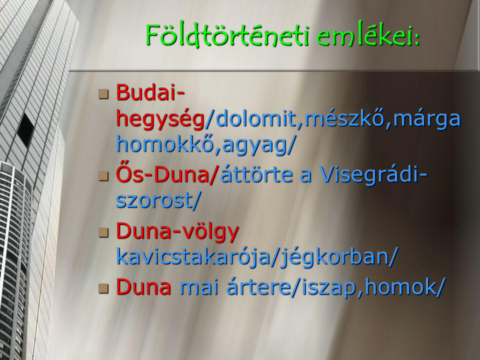 Földtörténeti emlékei: Budai- hegység/dolomit,mészkő,márga homokkő,agyag/ Budai- hegység/dolomit,mészkő,márga homokkő,agyag/ Ős-Duna/áttörte a Visegrádi- szorost/ Ős-Duna/áttörte a Visegrádi- szorost/ Duna-völgy kavicstakarója/jégkorban/ Duna-völgy kavicstakarója/jégkorban/ Duna mai ártere/iszap,homok/ Duna mai ártere/iszap,homok/