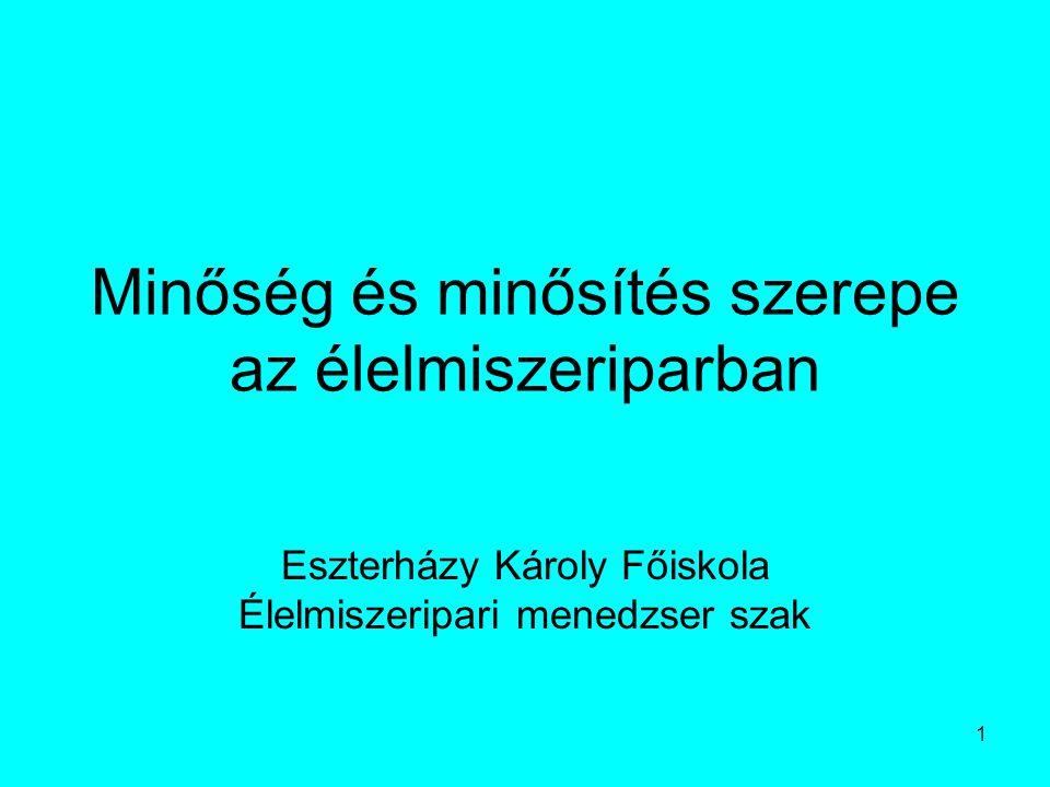 1 Minőség és minősítés szerepe az élelmiszeriparban Eszterházy Károly Főiskola Élelmiszeripari menedzser szak