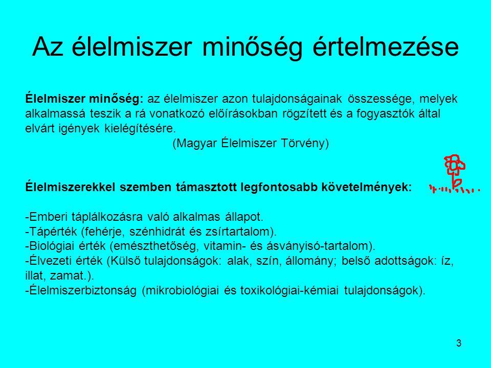 24 Az élelmiszerek minőségének jogi szabályozása Kapcsolódó jogszabályok: Magyar Élelmiszerkönyv (Codex Alimentarius Hungaricus): a minőség biztosításának és a jogi szabályozásnak egyik fontos alappillére.