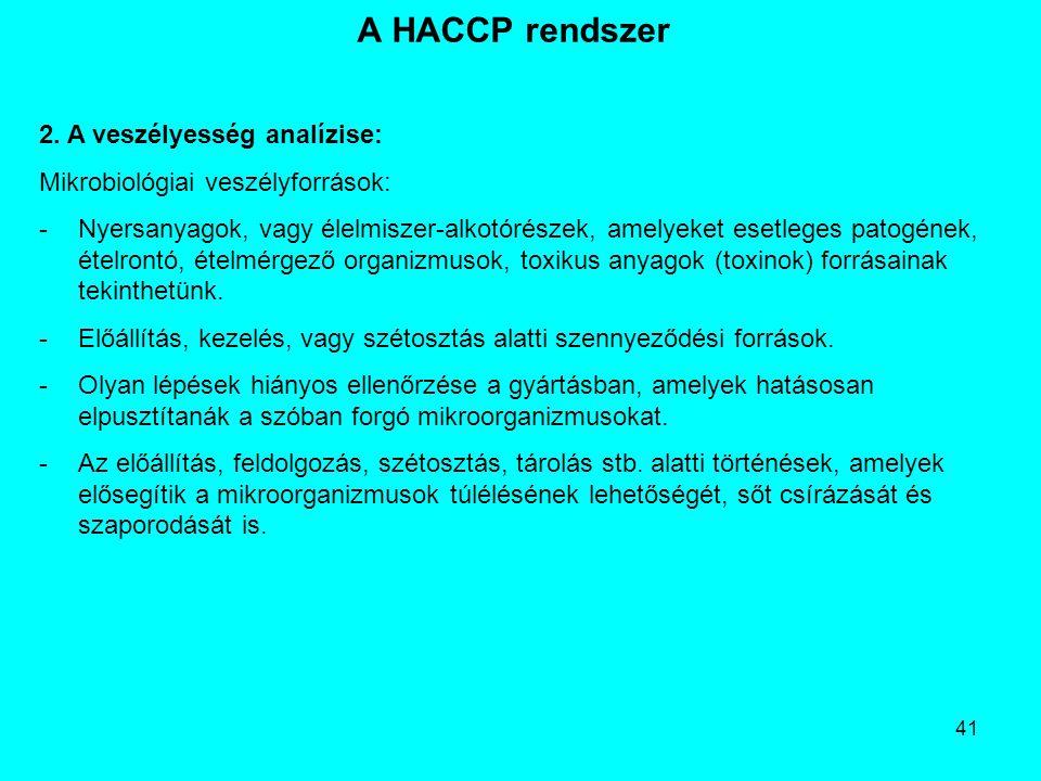 41 A HACCP rendszer 2. A veszélyesség analízise: Mikrobiológiai veszélyforrások: -Nyersanyagok, vagy élelmiszer-alkotórészek, amelyeket esetleges pato