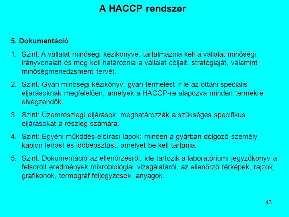 43 A HACCP rendszer 5. Dokumentáció 1.Szint: A vállalat minőségi kézikönyve: tartalmaznia kell a vállalat minőségi irányvonalait és meg kell határozni