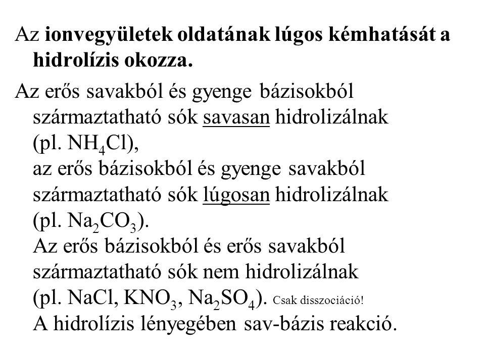 Az ionvegyületek oldatának lúgos kémhatását a hidrolízis okozza.