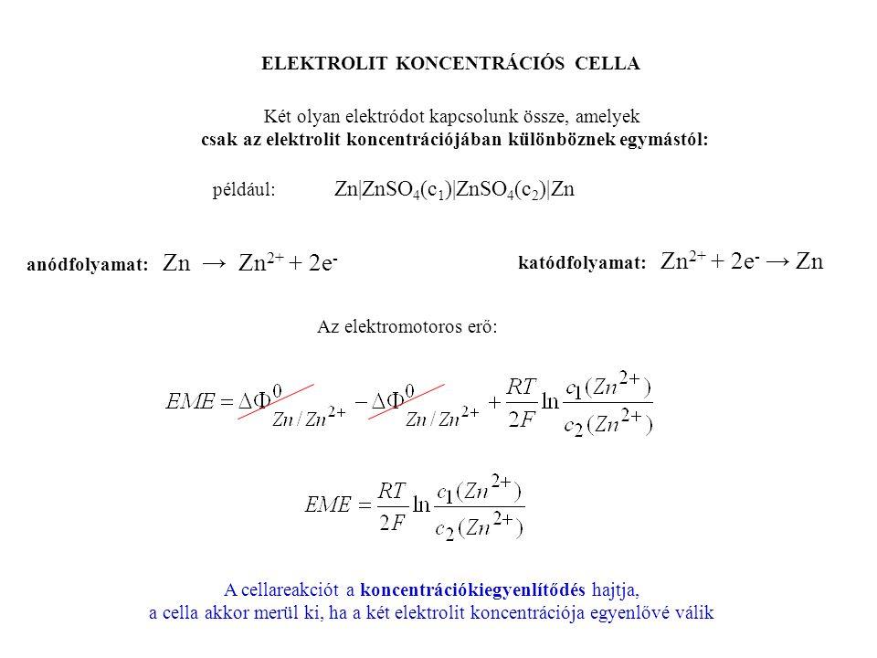 ELEKTROLIT KONCENTRÁCIÓS CELLA Két olyan elektródot kapcsolunk össze, amelyek csak az elektrolit koncentrációjában különböznek egymástól: például: Zn|ZnSO 4 (c 1 )|ZnSO 4 (c 2 )|Zn anódfolyamat: Zn → Zn 2+ + 2e - katódfolyamat: Zn 2+ + 2e - → Zn Az elektromotoros erő: A cellareakciót a koncentrációkiegyenlítődés hajtja, a cella akkor merül ki, ha a két elektrolit koncentrációja egyenlővé válik