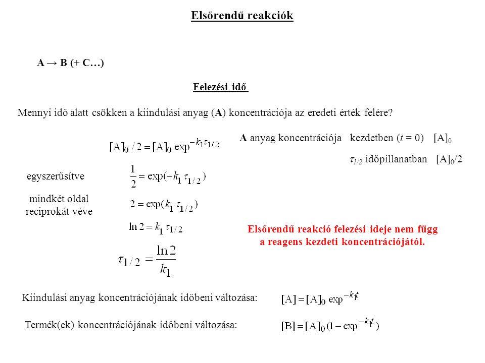 Elsőrendű reakciók A → B (+ C…) Kiindulási anyag koncentrációjának időbeni változása: Termék(ek) koncentrációjának időbeni változása: Felezési idő Mennyi idő alatt csökken a kiindulási anyag (A) koncentrációja az eredeti érték felére.