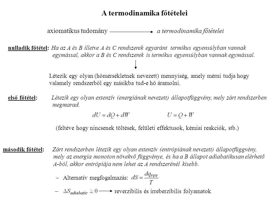 harmadik főtétel: T  0 esetén egyensúlyi rendszer entrópiája zérushoz tart.