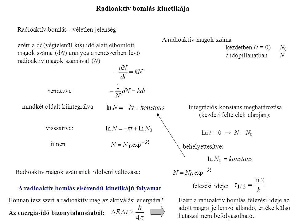 Radioaktív bomlás kinetikája A radioaktív magok száma kezdetben (t = 0) N 0 t időpillanatbanN rendezve mindkét oldalt kiintegrálva Integrációs konstans meghatározása (kezdeti feltételek alapján): ha t = 0 → N = N 0 behelyettesítve: visszaírva: innen Radioaktív magok számának időbeni változása: Radioaktív bomlás - véletlen jelenség ezért a dt (végtelenül kis) idő alatt elbomlott magok száma (dN) arányos a rendszerben lévő radioaktív magok számával (N) A radioaktív bomlás elsőrendű kinetikájú folyamat felezési ideje: Honnan tesz szert a radioaktív mag az aktiválási energiára.