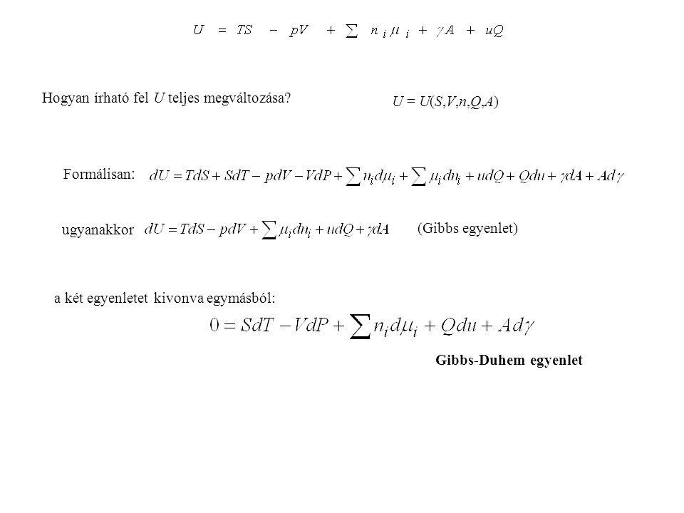 termodinamikai állapotfüggvények: belső energiaU entalpiaH = U + pV szabadentalpiaG = H - TS szabadenergiaF = U - TS entrópiatag-TS folyamatok spontán végbemeneteléről döntő állapotfüggvények: ha U, V, n i (A, Q...) (az extenzív paraméterek) -TS állandóak (zárt rendszer) ha T, V, n i (A, Q...) állandóak F ha T, p, n i (A, Q...) állandóak G Kémiában általában T és p állandó, ezért a folyamatok spontán végbemeneteléről döntő kulcsfontosságú állapotfüggvény a szabadentalpia Energiafüggvények UU = U(S,V) H = U + pV dH = dU + d(pV) = dU + pdV + Vdp TdS - pdV dH = TdS + Vdp H = H(S,p) F = U - TS G = U + pV - TS energia entalpia szabadenergia F = F(T,V) G = G(T,p) szabadentalpia dF = dU - d(TS) = dU - TdS - SdT TdS - pdV dF = -SdT - pdV dG = dU + d(pV) - d(TS) = TdS - pdV dG = -SdT + Vdp = dU + pdV + Vdp - TdS - SdT