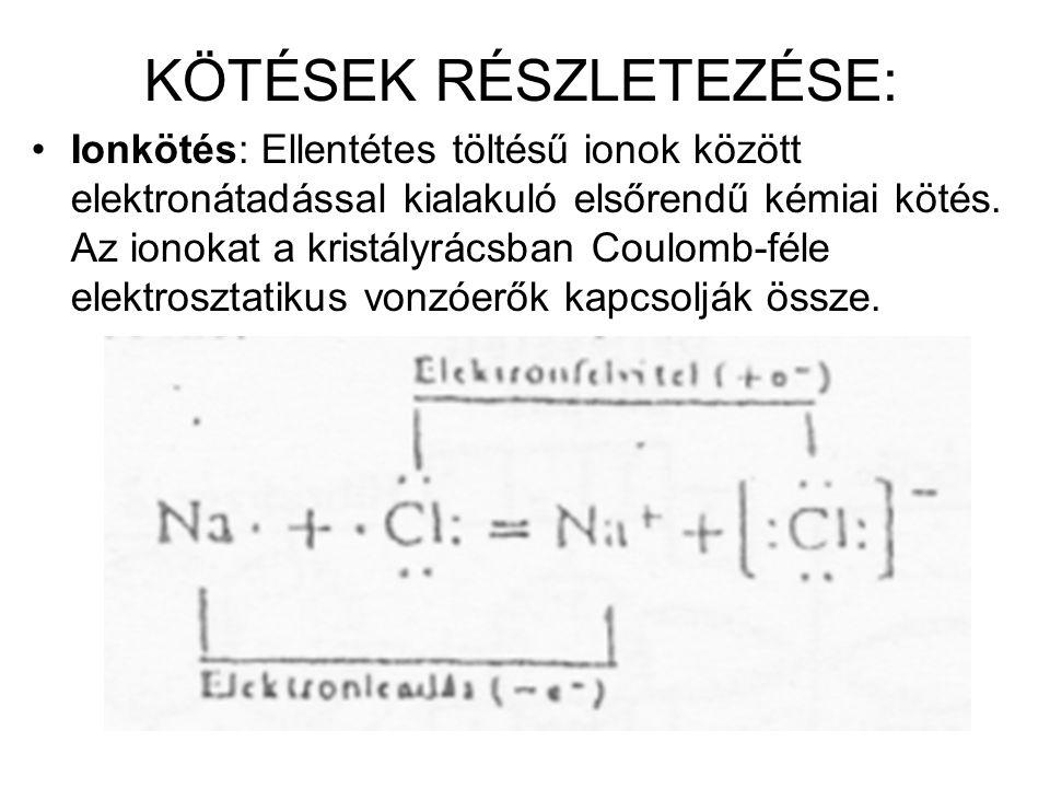 KÖTÉSEK RÉSZLETEZÉSE: Ionkötés: Ellentétes töltésű ionok között elektronátadással kialakuló elsőrendű kémiai kötés. Az ionokat a kristályrácsban Coulo