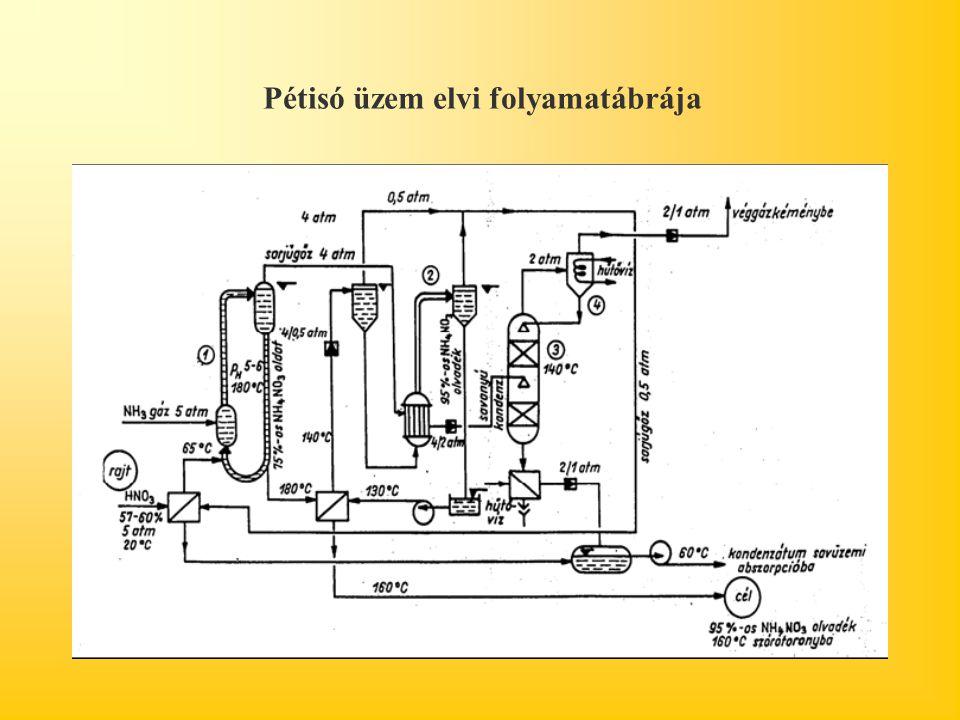 Pétisó üzem elvi folyamatábrája
