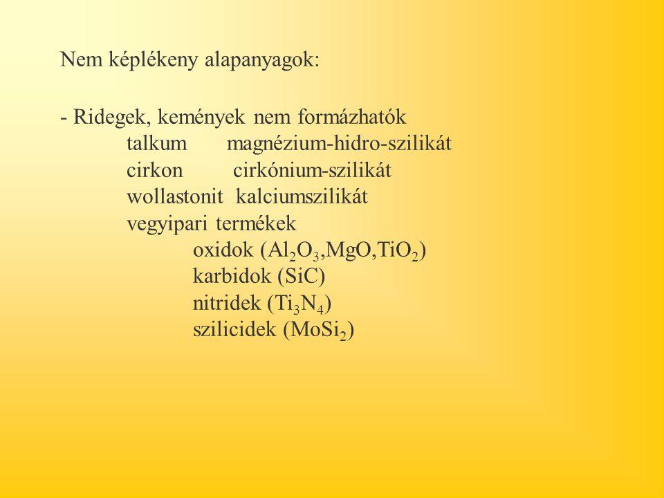 Nem képlékeny alapanyagok: - Ridegek, kemények nem formázhatók talkum magnézium-hidro-szilikát cirkon cirkónium-szilikát wollastonit kalciumszilikát vegyipari termékek oxidok (Al 2 O 3,MgO,TiO 2 ) karbidok (SiC) nitridek (Ti 3 N 4 ) szilicidek (MoSi 2 )