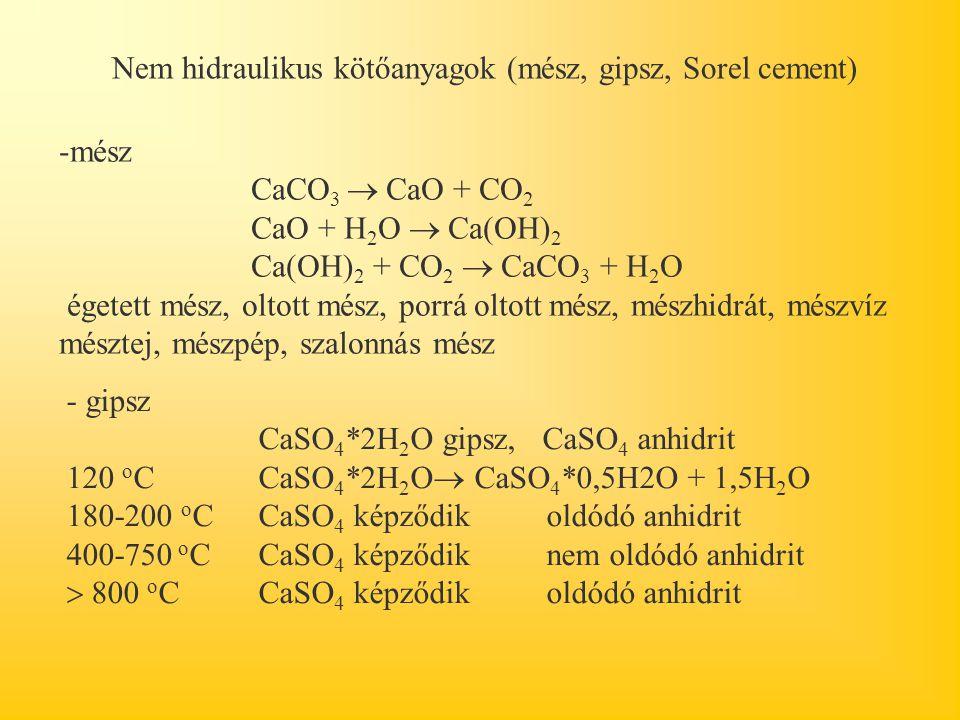 Nem hidraulikus kötőanyagok (mész, gipsz, Sorel cement) -mész CaCO 3  CaO + CO 2 CaO + H 2 O  Ca(OH) 2 Ca(OH) 2 + CO 2  CaCO 3 + H 2 O égetett mész, oltott mész, porrá oltott mész, mészhidrát, mészvíz mésztej, mészpép, szalonnás mész - gipsz CaSO 4 *2H 2 O gipsz, CaSO 4 anhidrit 120 o C CaSO 4 *2H 2 O  CaSO 4 *0,5H2O + 1,5H 2 O 180-200 o C CaSO 4 képződik oldódó anhidrit 400-750 o C CaSO 4 képződik nem oldódó anhidrit  800 o C CaSO 4 képződik oldódó anhidrit