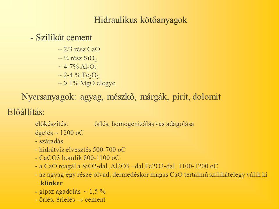 Hidraulikus kötőanyagok - Szilikát cement ~ 2/3 rész CaO ~ ¼ rész SiO 2 ~ 4-7% Al 2 O 3 ~ 2-4 % Fe 2 O 3 ~  1% MgO elegye Nyersanyagok: agyag, mészkő, márgák, pirit, dolomit Előállítás: előkészítés: őrlés, homogenizálás vas adagolása égetés ~ 1200 oC - száradás - hidrátvíz elvesztés 500-700 oC - CaCO3 bomlik 800-1100 oC - a CaO reagál a SiO2-dal, Al2O3 –dal Fe2O3-dal 1100-1200 oC - az agyag egy része olvad, dermedéskor magas CaO tertalmú szilikátelegy válik ki klinker - gipsz agadolás ~ 1,5 % - őrlés, érlelés  cement