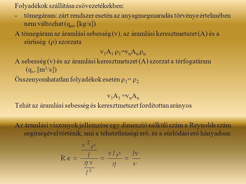 Folyadékok szállítása csővezetékekben: -tömegáram: zárt rendszer esetén az anyagmegmaradás törvénye értelmében nem változhat (q m, [kg/s]) A tömegáram az áramlási sebesség (v), az áramlási keresztmetszet (A) és a sűrűség (  ) szorzata v 1 A 1  1 =v n A n  n A sebesség (v) és az áramlási keresztmetszet (A) szorzat a térfogatáram (q v, [m 3 /s]) Összenyomhatatlan folyadékok esetén  1 =  2 v 1 A 1 =v n A n Tehát az áramlási sebesség és keresztmetszet fordítottan arányos Az áramlási viszonyok jellemzése egy dimenzió nélküli szám a Reynolds szám segítségével történik, ami a tehetetlenségi erő, és a súrlódási erő hányadosa: