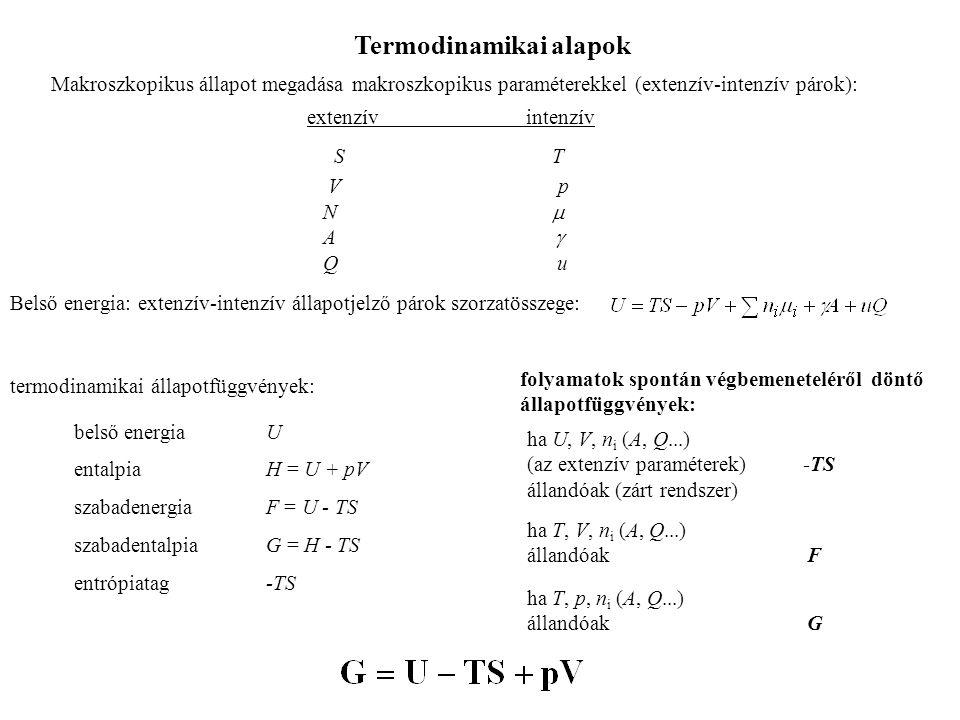 Termodinamikai alapok Makroszkopikus állapot megadása makroszkopikus paraméterekkel (extenzív-intenzív párok): extenzív intenzív S T V p N  
