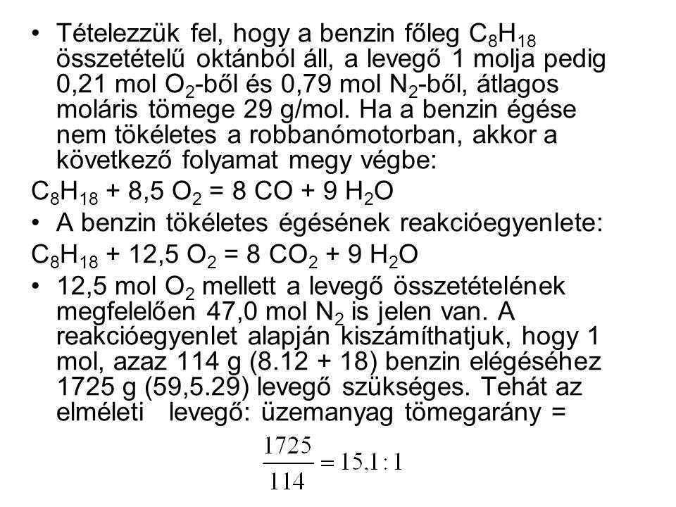 Tételezzük fel, hogy a benzin főleg C 8 H 18 összetételű oktánból áll, a levegő 1 molja pedig 0,21 mol O 2 -ből és 0,79 mol N 2 -ből, átlagos moláris