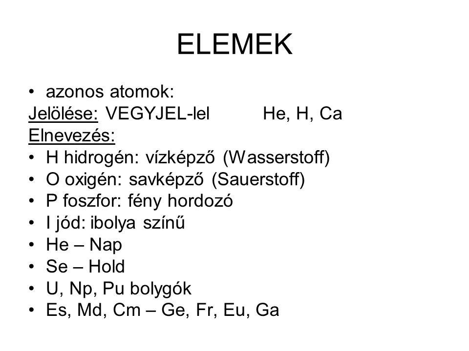 ELEMEK azonos atomok: Jelölése: VEGYJEL-lelHe, H, Ca Elnevezés: H hidrogén: vízképző (Wasserstoff) O oxigén: savképző (Sauerstoff) P foszfor: fény hor