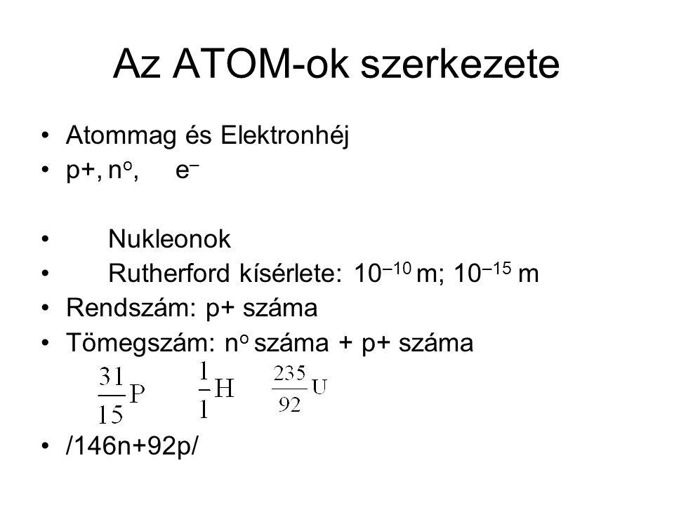 Az ATOM-ok szerkezete Atommag és Elektronhéj p+,n o,e – Nukleonok Rutherford kísérlete: 10 –10 m; 10 –15 m Rendszám: p+ száma Tömegszám: n o száma + p