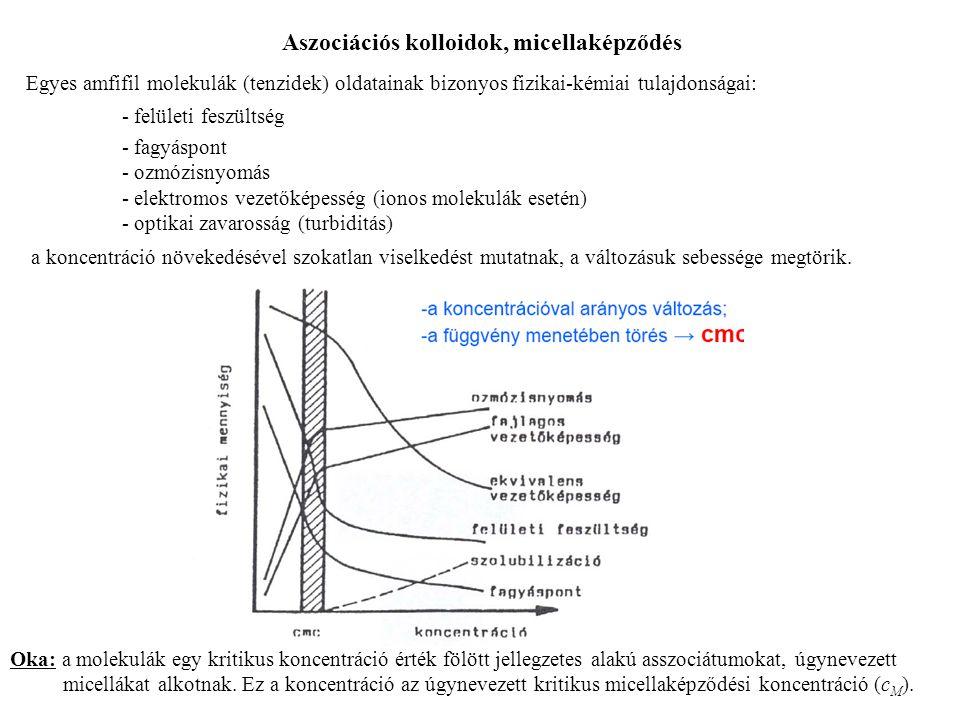 Egyes amfifil molekulák (tenzidek) oldatainak bizonyos fizikai-kémiai tulajdonságai: - felületi feszültség - fagyáspont - ozmózisnyomás - elektromos v
