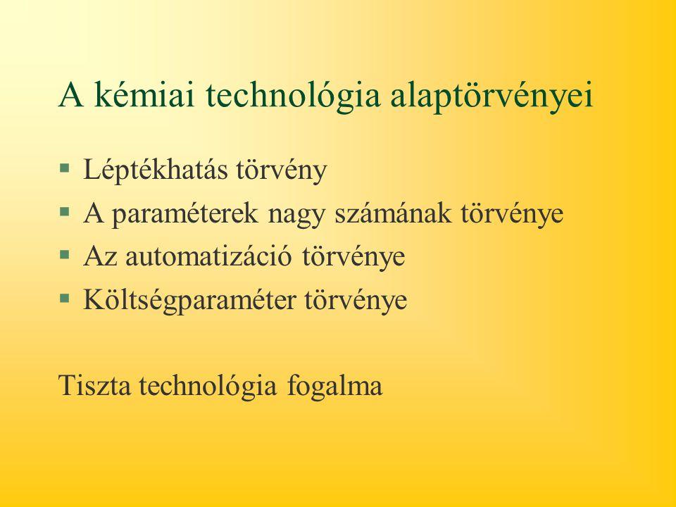 A kémiai technológia alaptörvényei §Léptékhatás törvény §A paraméterek nagy számának törvénye §Az automatizáció törvénye §Költségparaméter törvénye Tiszta technológia fogalma
