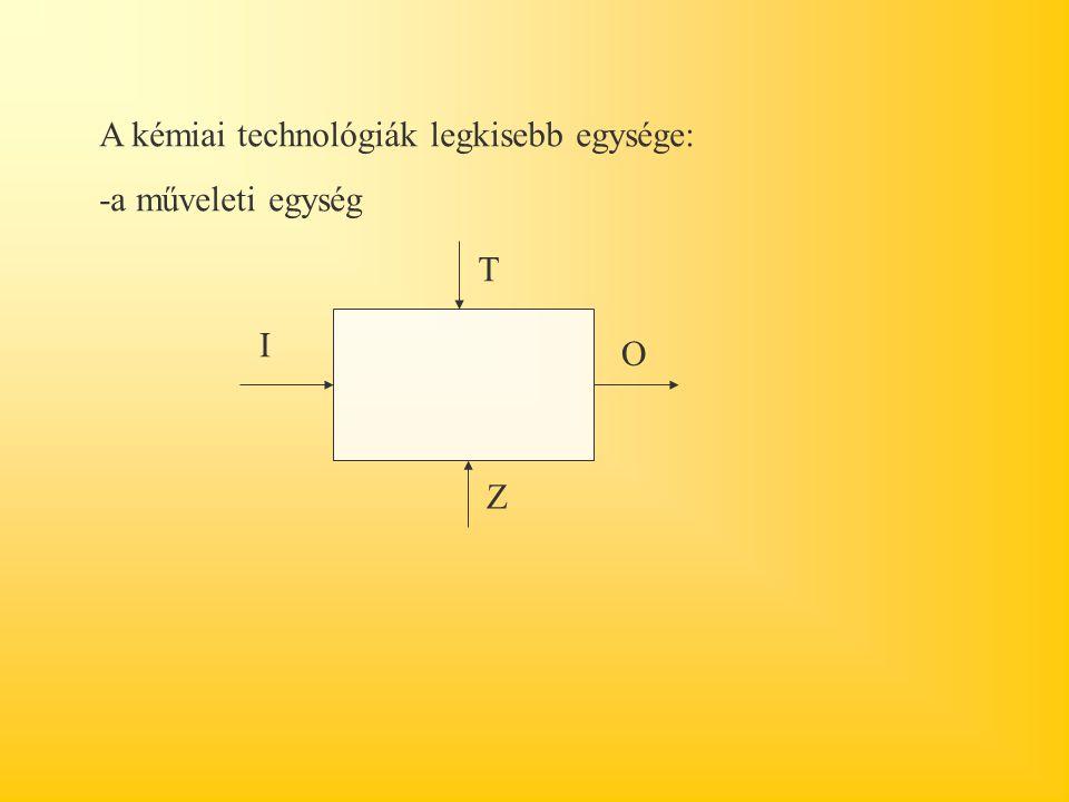 A kémiai technológiák legkisebb egysége: -a műveleti egység I O T Z