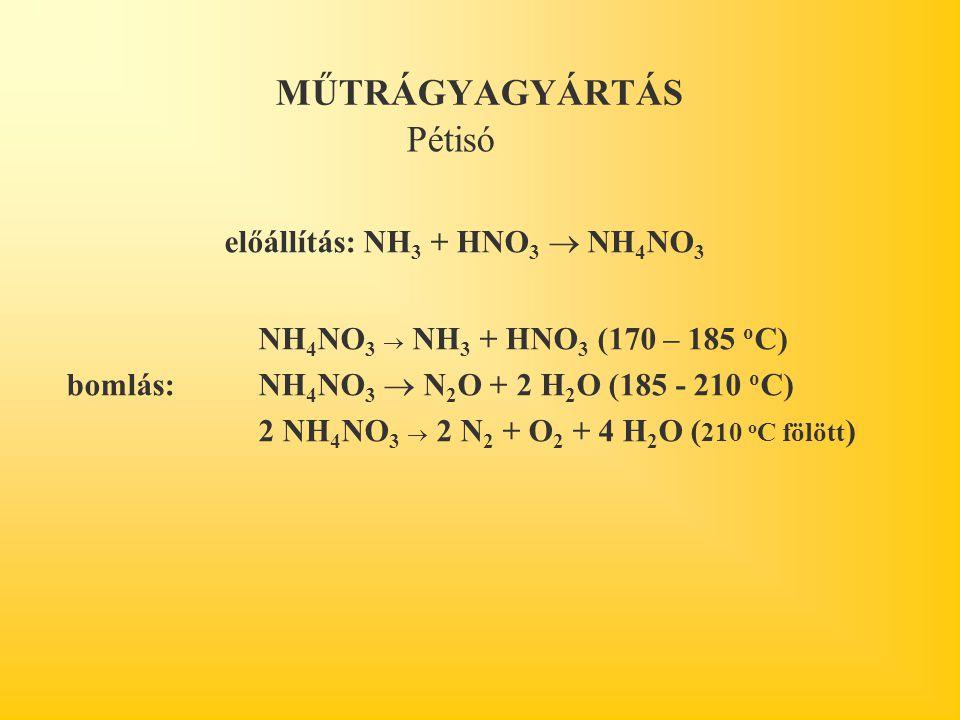 MŰTRÁGYAGYÁRTÁS előállítás: NH 3 + HNO 3  NH 4 NO 3 NH 4 NO 3  NH 3 + HNO 3 (170 – 185 o C) bomlás:NH 4 NO 3  N 2 O + 2 H 2 O (185 - 210 o C) 2 NH