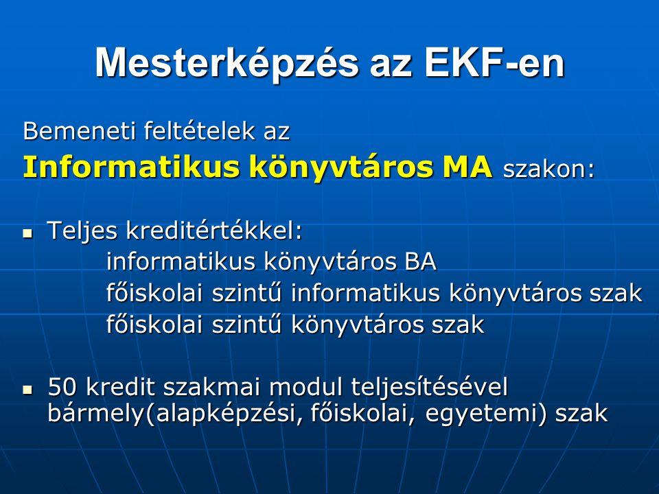 Mesterképzés az EKF-en Bemeneti feltételek az Informatikus könyvtáros MA szakon: Teljes kreditértékkel: Teljes kreditértékkel: informatikus könyvtáros
