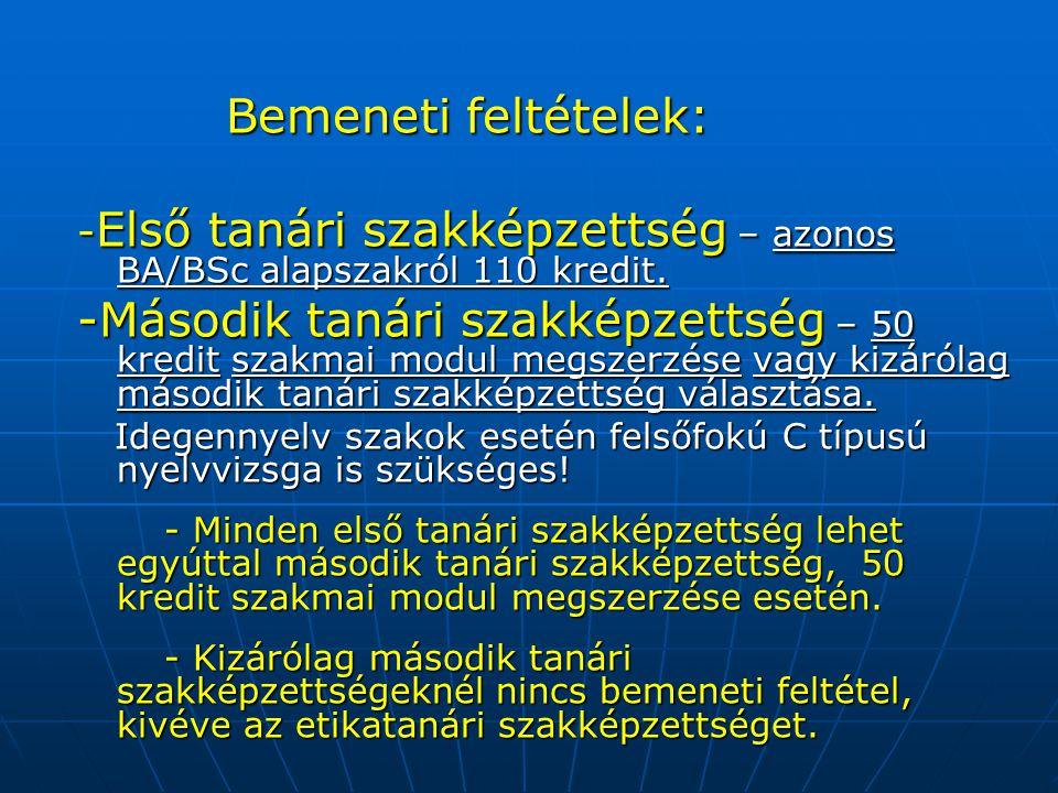 Bemeneti feltételek: Bemeneti feltételek: - Első tanári szakképzettség – azonos BA/BSc alapszakról 110 kredit.