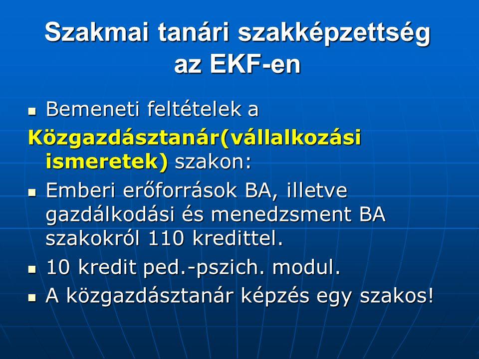 Szakmai tanári szakképzettség az EKF-en Bemeneti feltételek a Bemeneti feltételek a Közgazdásztanár(vállalkozási ismeretek) szakon: Emberi erőforrások BA, illetve gazdálkodási és menedzsment BA szakokról 110 kredittel.