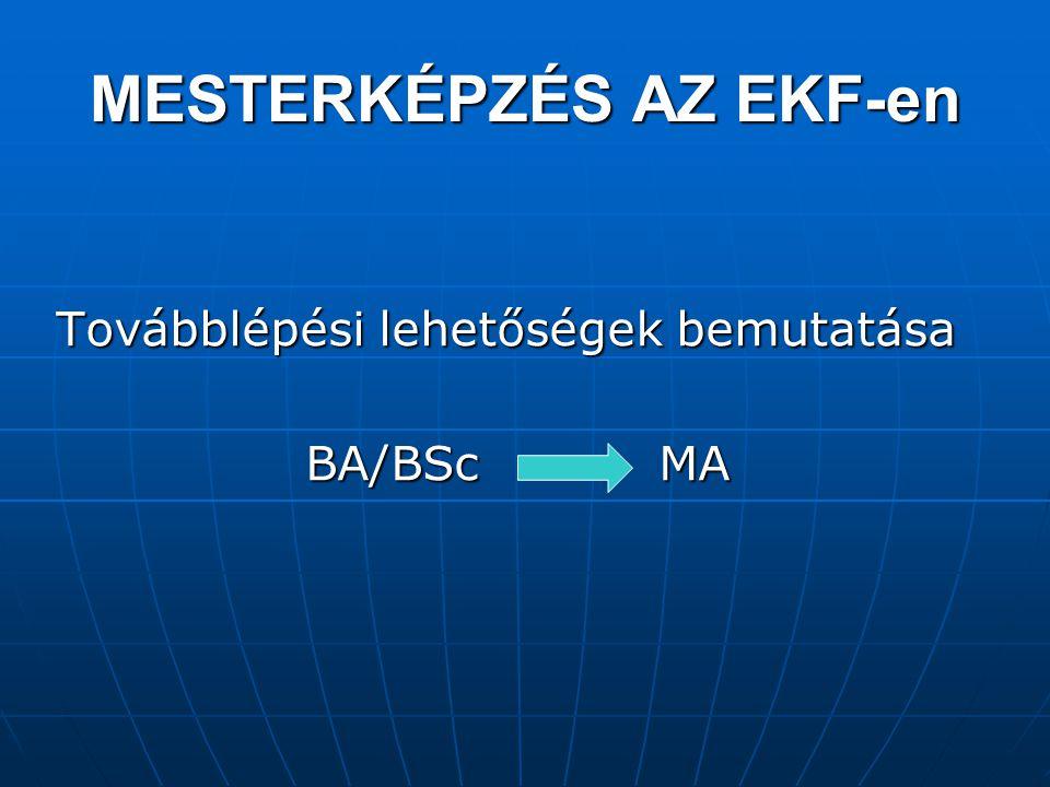 MESTERKÉPZÉS AZ EKF-en Továbblépési lehetőségek bemutatása BA/BSc MA