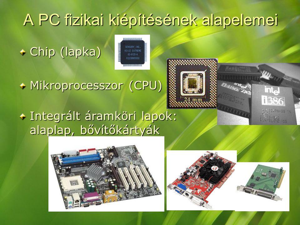 A PC fizikai kiépítésének alapelemei Chip (lapka) Mikroprocesszor (CPU) Integrált áramköri lapok: alaplap, bővítőkártyák