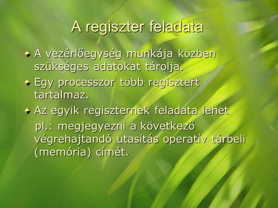 A regiszter feladata A vezérlőegység munkája közben szükséges adatokat tárolja. Egy processzor több regisztert tartalmaz. Az egyik regiszternek felada