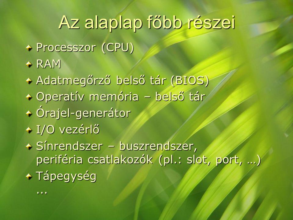 Az alaplap főbb részei Processzor (CPU) RAM Adatmegőrző belső tár (BIOS) Operatív memória – belső tár Órajel-generátor I/O vezérlő Sínrendszer – buszr