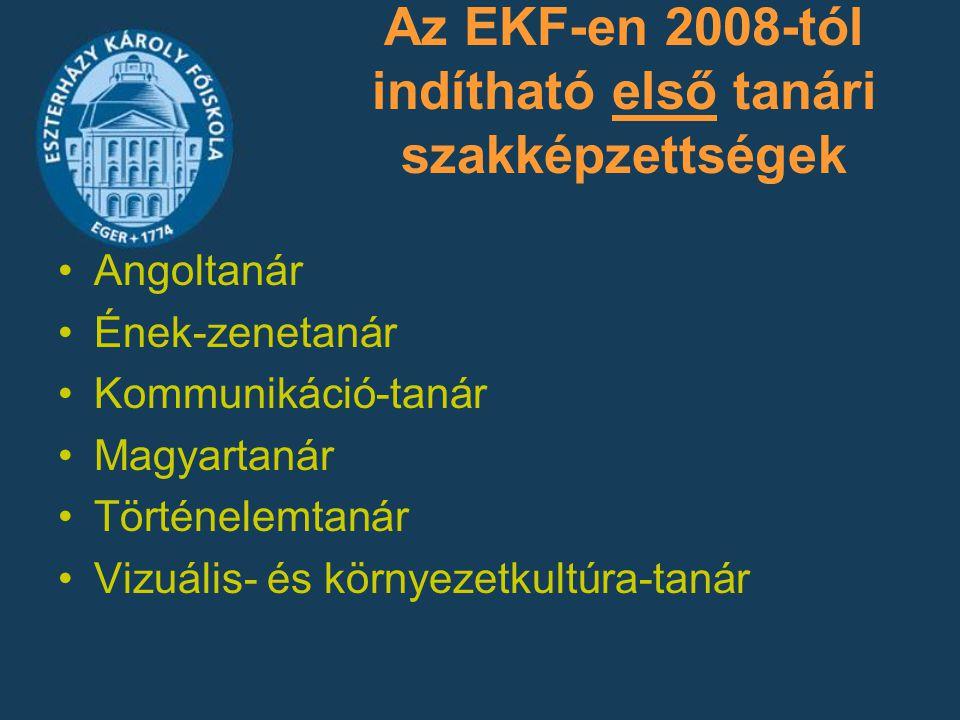 Az EKF-en 2008-tól indítható első tanári szakképzettségek Angoltanár Ének-zenetanár Kommunikáció-tanár Magyartanár Történelemtanár Vizuális- és környe