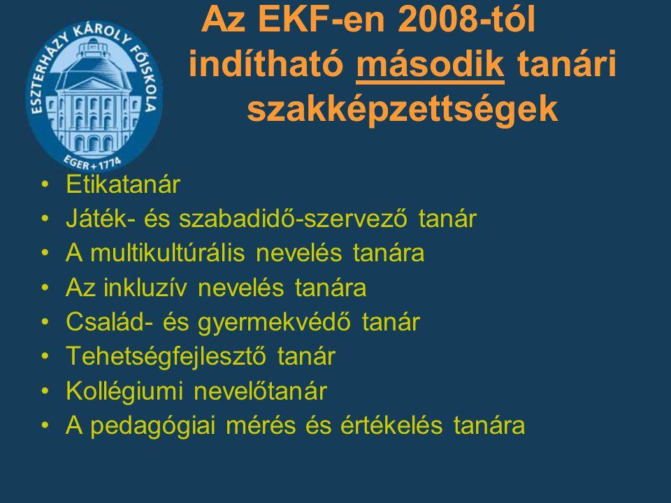 Az EKF-en 2008-tól indítható második tanári szakképzettségek Etikatanár Játék- és szabadidő-szervező tanár A multikultúrális nevelés tanára Az inkluzí