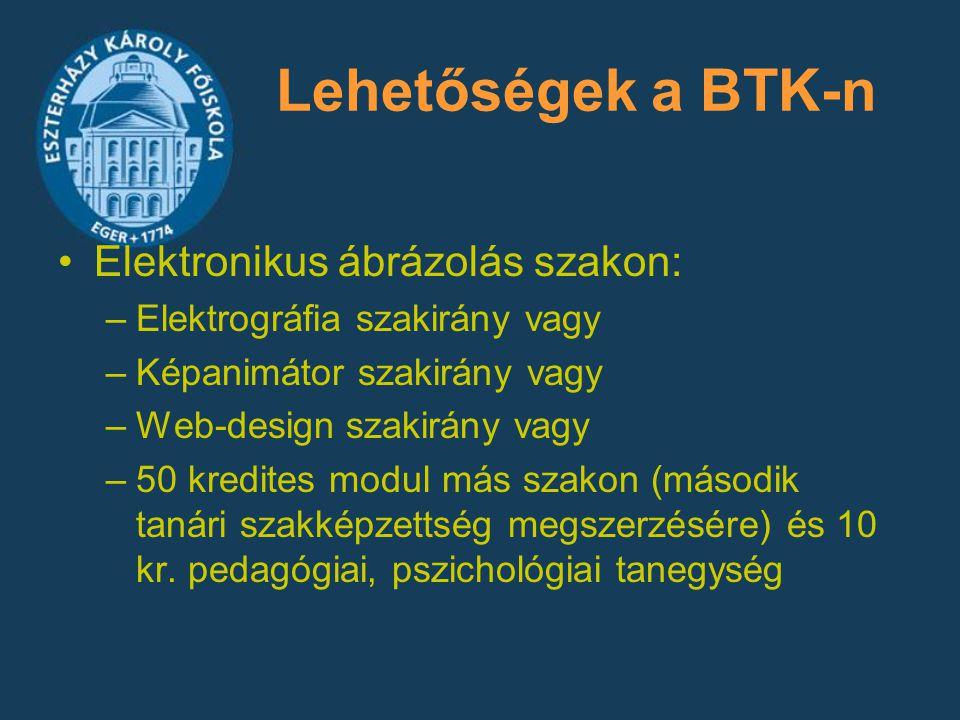 Lehetőségek a BTK-n Elektronikus ábrázolás szakon: –Elektrográfia szakirány vagy –Képanimátor szakirány vagy –Web-design szakirány vagy –50 kredites m