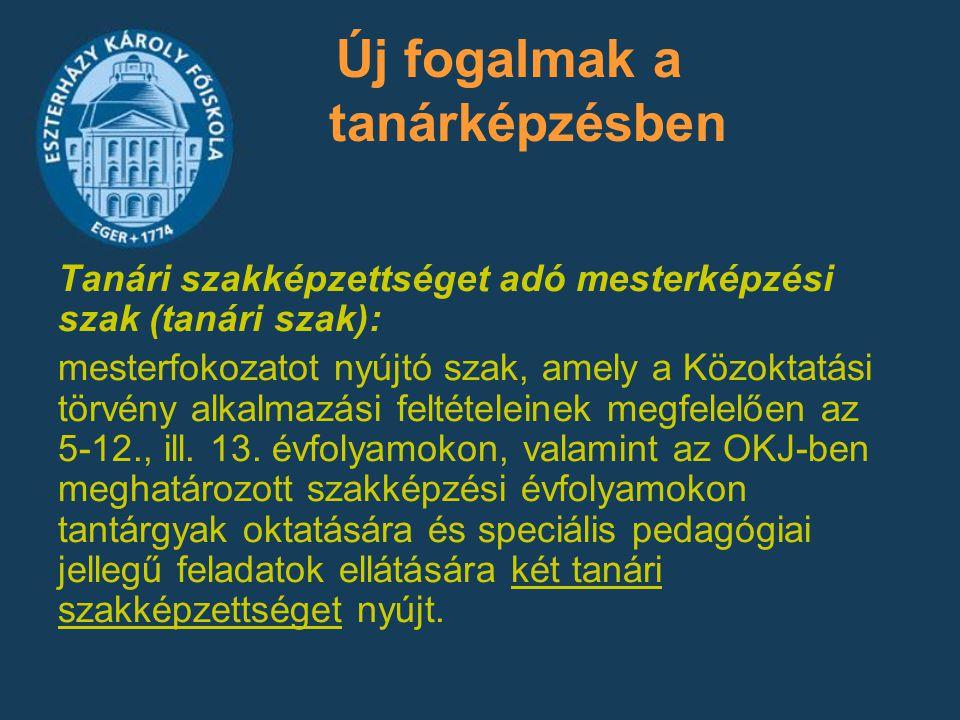Magyar szakon: –Drámapedagógia szakirány vagy –Irodalomtudomány szakirány vagy –Ügyvitel szakirány vagy –Lexikológia, lexikográfia szakirány vagy –50 kredites modul más szakon (második tanári szakképzettség megszerzésére) és 10 kr.