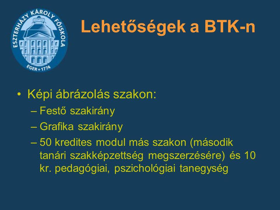 Lehetőségek a BTK-n Képi ábrázolás szakon: –Festő szakirány –Grafika szakirány –50 kredites modul más szakon (második tanári szakképzettség megszerzés