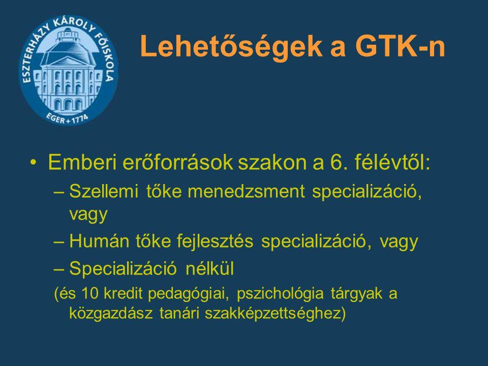 Lehetőségek a GTK-n Emberi erőforrások szakon a 6. félévtől: –Szellemi tőke menedzsment specializáció, vagy –Humán tőke fejlesztés specializáció, vagy