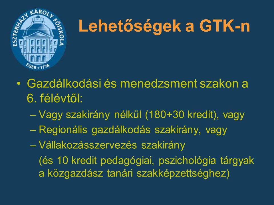 Lehetőségek a GTK-n Gazdálkodási és menedzsment szakon a 6. félévtől: –Vagy szakirány nélkül (180+30 kredit), vagy –Regionális gazdálkodás szakirány,