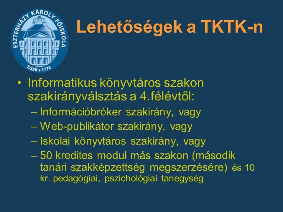 Lehetőségek a TKTK-n Informatikus könyvtáros szakon szakirányválsztás a 4.félévtől: –Információbróker szakirány, vagy –Web-publikátor szakirány, vagy