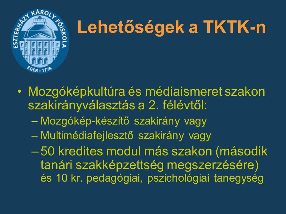 Lehetőségek a TKTK-n Mozgóképkultúra és médiaismeret szakon szakirányválasztás a 2. félévtől: –Mozgókép-készítő szakirány vagy –Multimédiafejlesztő sz