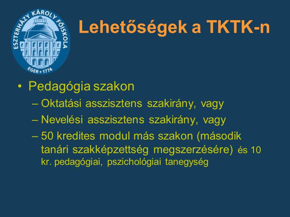 Lehetőségek a TKTK-n Pedagógia szakon –Oktatási asszisztens szakirány, vagy –Nevelési asszisztens szakirány, vagy –50 kredites modul más szakon (másod