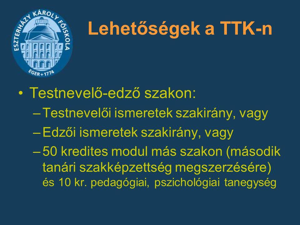 Lehetőségek a TTK-n Testnevelő-edző szakon: –Testnevelői ismeretek szakirány, vagy –Edzői ismeretek szakirány, vagy –50 kredites modul más szakon (más