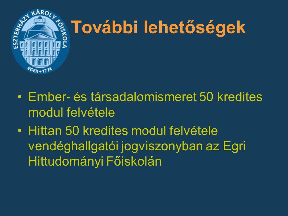 További lehetőségek Ember- és társadalomismeret 50 kredites modul felvétele Hittan 50 kredites modul felvétele vendéghallgatói jogviszonyban az Egri H