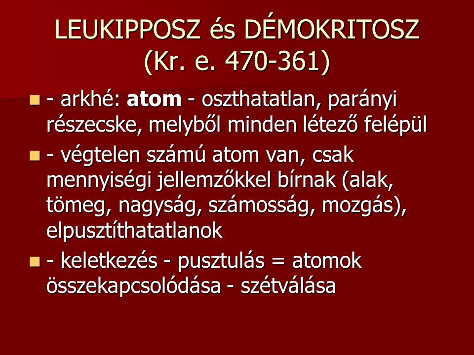 LEUKIPPOSZ és DÉMOKRITOSZ (Kr.e.